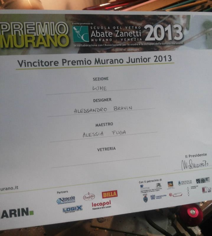 Winner Junior Murano prize 2013