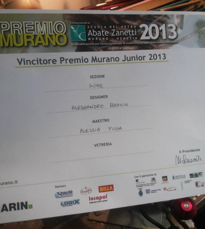 Vincitrice Premio Murano 2013