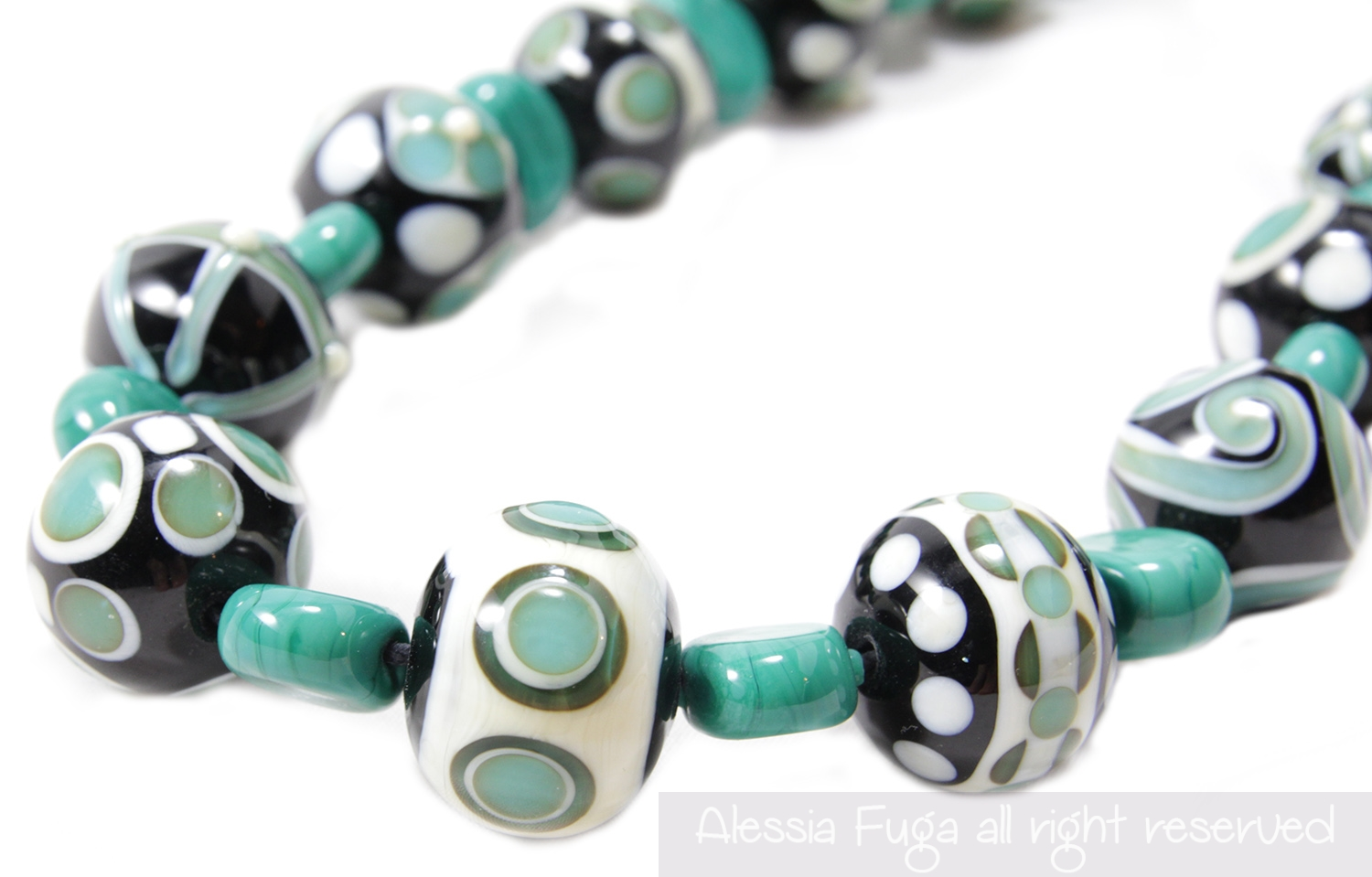 "Lampwork necklace ""13"" in pastel teal made by Alessia Fuga"
