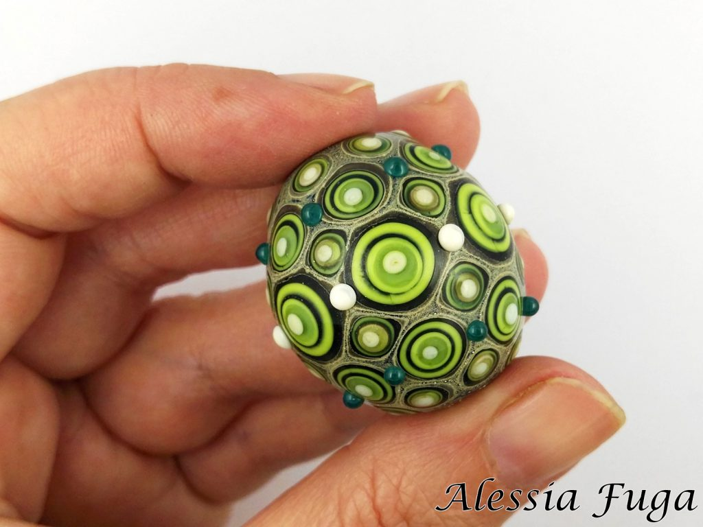 "Lampwork ""Fenice"" bead in green"