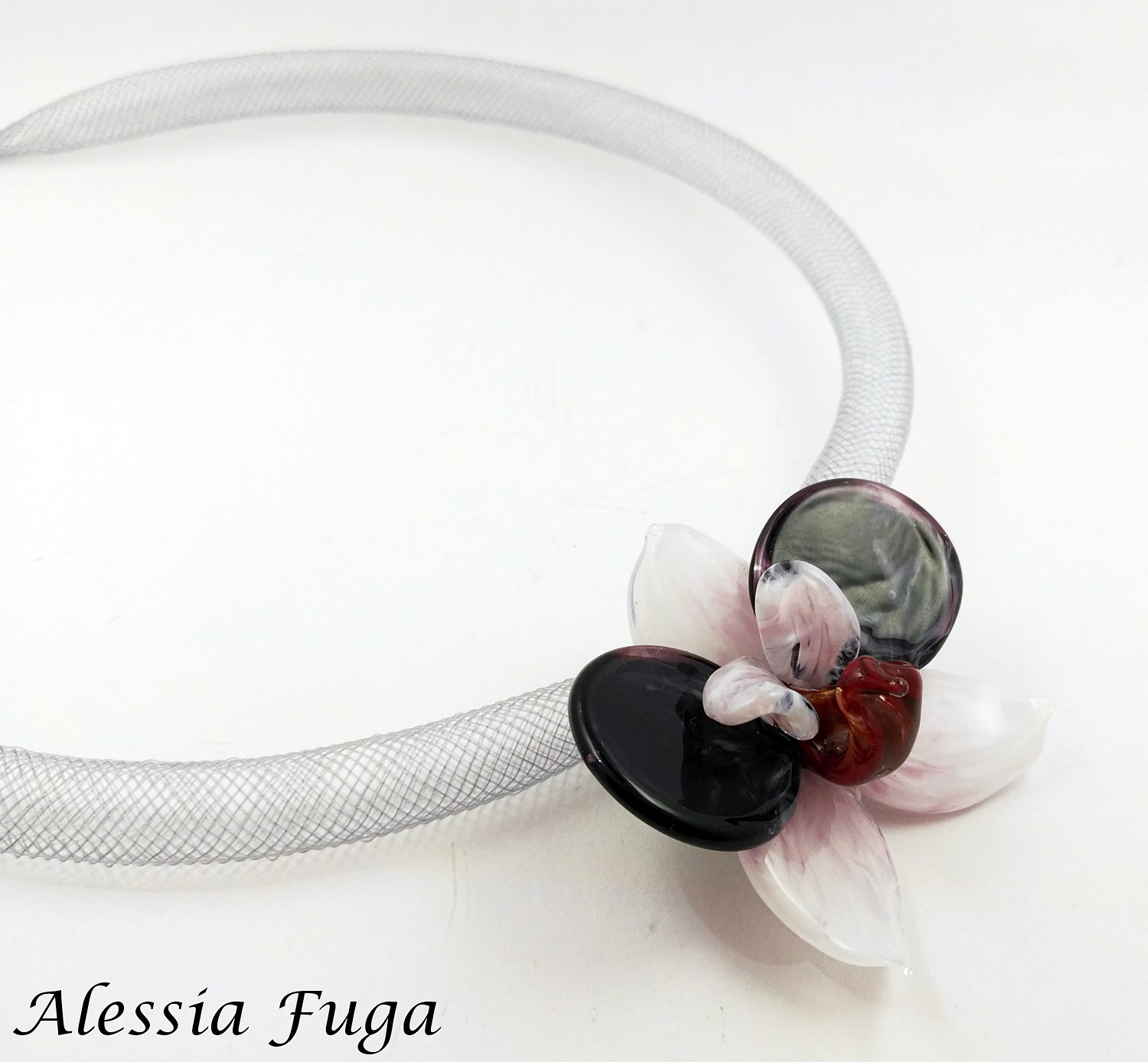 White pink and dark amethyst lampwork orchid pendant made by Alessia Fuga
