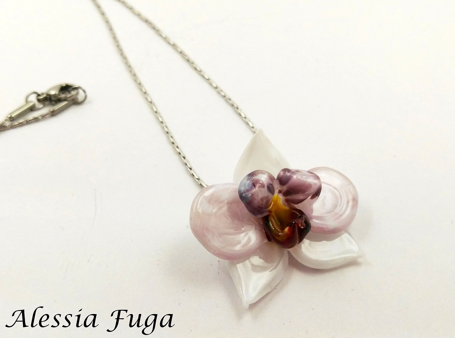 withe and pink orchid pendant