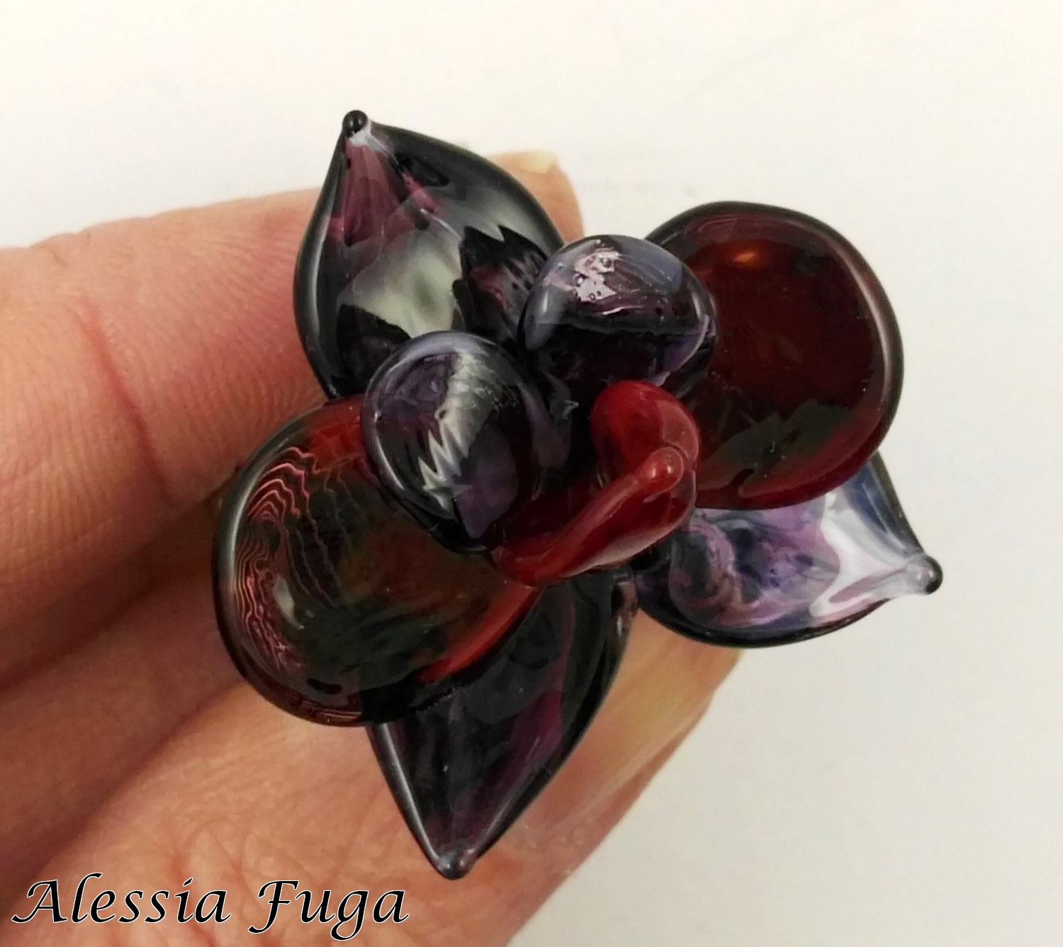 Dark wisteria and red orchid ring